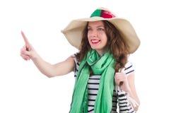 Vrouw met zak op manier Royalty-vrije Stock Foto