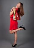 vrouw met zak twee op grijs BG Royalty-vrije Stock Afbeeldingen