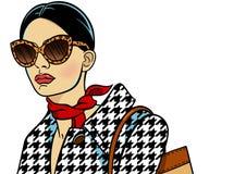 Vrouw met zonnebril Vector Illustratie