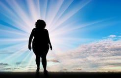 Vrouw met zwaarlijvigheid royalty-vrije illustratie