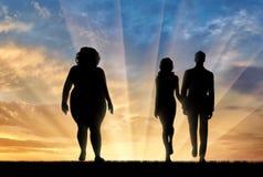 Vrouw met zwaarlijvigheid en slank paar vector illustratie
