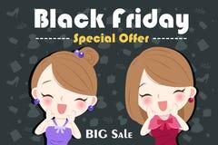Vrouw met zwarte vrijdag vector illustratie