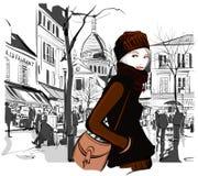 Vrouw in Montmartre-vierkant Stock Afbeelding