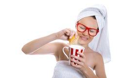 Vrouw na het baden Stock Afbeelding