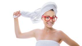 Vrouw na het baden Stock Foto