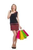 Vrouw na shopping spree stock fotografie