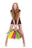 Vrouw na shopping spree royalty-vrije stock foto's