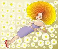 Vrouw onder Bloemen Stock Afbeeldingen