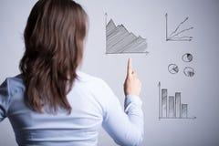 Vrouw onder diverse grafieken Stock Fotografie