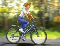 Vrouw op bicikle Royalty-vrije Stock Afbeeldingen