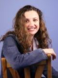 Vrouw op blauw royalty-vrije stock afbeelding