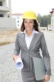 Vrouw op bouwwerf Royalty-vrije Stock Foto