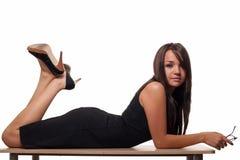Vrouw op bureau Stock Fotografie