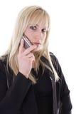 Vrouw op celtelefoon Stock Afbeelding