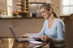 Vrouw op computer Royalty-vrije Stock Afbeelding