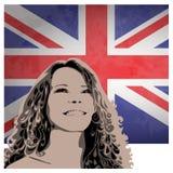 Vrouw op de achtergrond van de vlag van de V.S. Royalty-vrije Stock Afbeeldingen