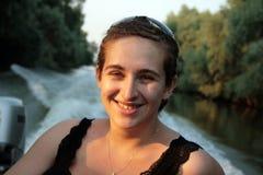 Vrouw op de Donau Stock Foto's