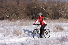 Vrouw op de fiets Stock Foto