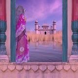 Vrouw op de Ganges Stock Foto's
