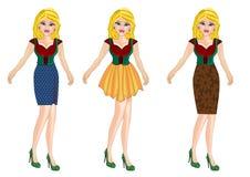 Vrouw op de kleding van de manierstijl stock illustratie