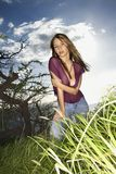 Vrouw op de kust van Maui. royalty-vrije stock afbeeldingen