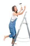 Vrouw op de ladder royalty-vrije stock afbeelding