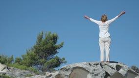 Vrouw op de rots dichtbij het overzees stock videobeelden