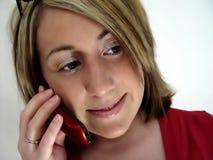 Vrouw op de Telefoon van de Cel Royalty-vrije Stock Afbeelding