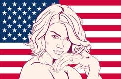 Vrouw op de vlag van de V.S. Stock Afbeelding