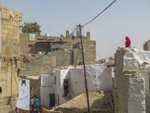 Vrouw op een dak Royalty-vrije Stock Afbeeldingen