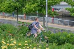 Vrouw op een fiets in de Koningin Elizabeth Olympic Park royalty-vrije stock afbeelding