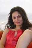 Vrouw op een laag Stock Foto's