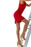 Vrouw op een ladder stock afbeeldingen