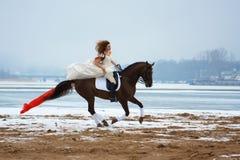 Vrouw op een paard Royalty-vrije Stock Afbeeldingen