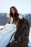 Vrouw op een paard Stock Afbeeldingen