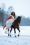 Vrouw op een paard Royalty-vrije Stock Afbeelding