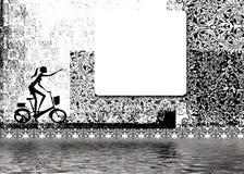Vrouw op fiets Royalty-vrije Stock Fotografie
