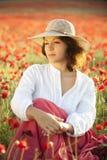 Vrouw op gebied Royalty-vrije Stock Afbeeldingen