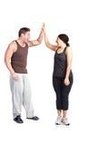 Vrouw op gewichtsschaal Stock Afbeeldingen