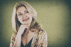 Vrouw op groen Stock Foto