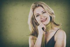 Vrouw op groen Royalty-vrije Stock Foto