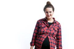 Vrouw op haar laatste zwangerschap stock afbeelding