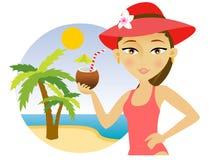 Vrouw op het strand met een cocktail Stock Foto
