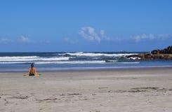 Vrouw op het strand van Brazilië Stock Afbeeldingen