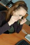 Vrouw op het werk Stock Foto