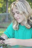Vrouw op I-peul Stock Afbeeldingen