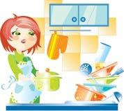 Vrouw op keuken Stock Afbeeldingen