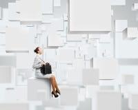 Vrouw op kubus Royalty-vrije Stock Foto