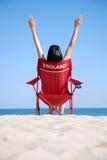 Vrouw op ligstoel Royalty-vrije Stock Fotografie