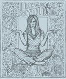 Vrouw op Lotus Pose Against Love Story-Achtergrond Stock Afbeeldingen